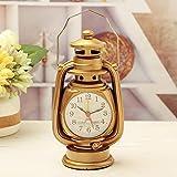 Relddd Kaminuhr Kaminuhren,Kreative Retro-Kerosin-Laternen Uhr kreative Heimat Uhr Ornamente 10 * 8 * 18 cm