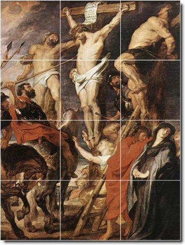 PETER RUBENS RELIGIOSO AZULEJOS MURAL 14  36X 48PULGADAS DE PARED CON (12) 12X 12AZULEJOS DE CERAMICA