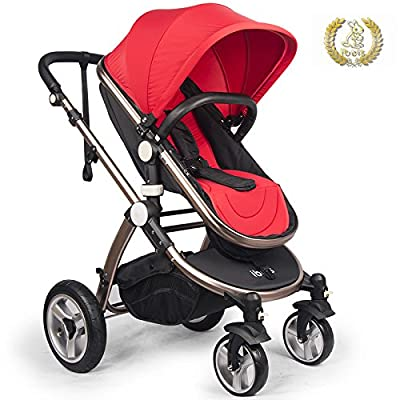 High Quality Baby Stroller IBEIS Prams 2 in 1 for Newborns European Folding Baby Carriage for 0 to 36 Months (Red)