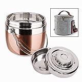 Boîtes-repas Boîte à lunch isotherme, acier inoxydable pliés sous vide/porte-aliment alimentaires Container/taffin boîte à lunch récipients de contrôle des portions, tenir chaud pendant 3 heures, 1,5 L
