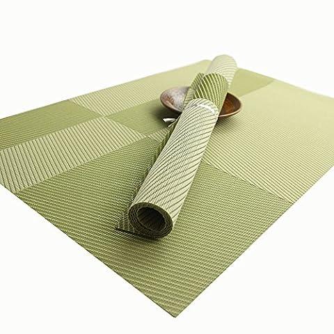 Haosen 4 Stück Platzsets Textilene PVC gestreiften Platzdeckchen Twill Geometrie Muster Tischsets (Grün)