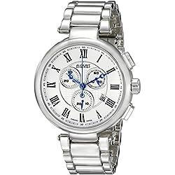 August Steiner Herren Quarz-Uhr mit weißem Zifferblatt Analog-Anzeige und Silber Legierung Armband as8148ss