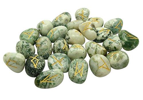 HARMONIZE Dendrítica Piedra Agata Tumbled con El Regalo Espiritual Curación De Cristal De La Runa del Alfabeto De Símbolos De Reiki