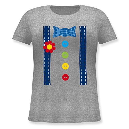 - Clown Kostüm blau - S (44) - Grau meliert - JHK601 - Lockeres Damen-Shirt in großen Größen mit Rundhalsausschnitt ()