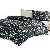 Starry Night 2-TLG Kinderbettwäsche Set mit Sternchen und Mond Kinder Mädchen Jugendliche Teenager Moderne Bettgarnitur schwarz braun, 135x200cm+50x75cm
