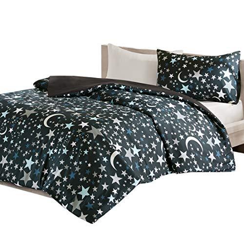 MIZONE Starry Night 2-tlg Kinderbettwäsche Set mit Sternchen und Mond Kinder Mädchen Jug