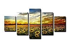 Idea Regalo - bestpricepictures 160 x 80 cm quadro su tela girasole 5535-SCT - stampa/disegno/immagine pronto da appendere