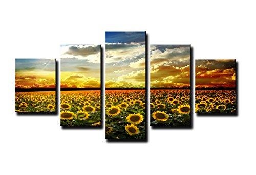 Visario 5535 immagini e stampe artistiche su tela 160 x 80 cm, sole fiore cinque pezzi, multicolore, legno