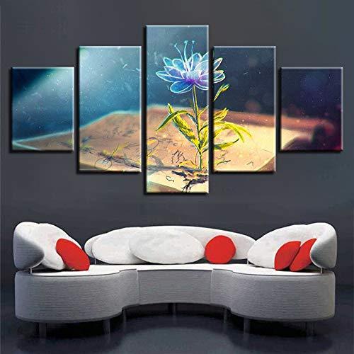 kultur Für Wohnzimmer Arbeit 5 Stücke Buch Und Blaue Blumen s HD Gedruckt Poster Modulare Bilder Leinwand ()