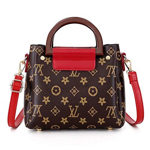 3D gedruckte Handtaschen Dame Schulter Messenger Bag Set 2, Mode wilde Mini Handtasche Geldbörse Cross Body Bag (Rot, 20 * 17 * 10cm)