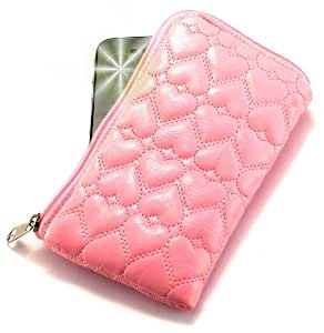 """Miss"" Luxurious Padded Wallet / Holder with Carrying Strap with ""Dreamer"" no. 10009 Gliter Phone Charm for HTC Victor . Unique Zipped Pouch / Case / Skin / Holster for Mobile Phone and Credit Cards - Pink ."