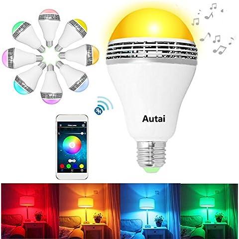 autai Smart Wireless Bluetooth Remote Control cambio de color bombilla RGB 4W E27/E26LED luz bombilla fiesta iluminación aplicación gratuita para teléfono inteligente (color blanco), RGBW, e27, 4.0 wattsW