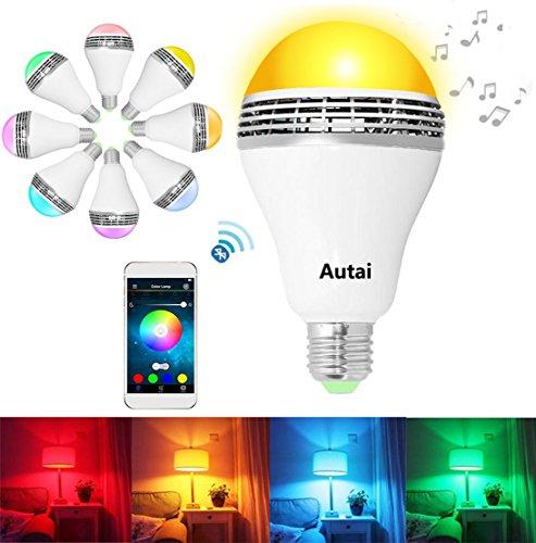 autai Smart Wireless Bluetooth Lampadina Cambia Colore con Telecomando RGB 4W E27/E26lampadina LED illuminazione partito App gratuita per Smart Phone (Bianco), RGBW, e27, 4.0 wattsW
