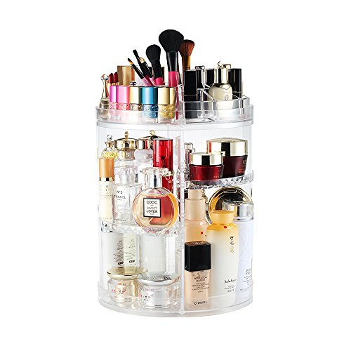 Foto de Organizador de maquillaje,360° Giratorio, Grande Capacidad Acrilico Transparente Cosméticos Organizadores con Bolso para Dresser Baño, Regalo para Niñas Mujeres