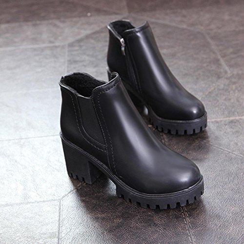 Jamicy Le donne di moda donna in pelle cerniera tacco alto Martin stivali scarpe Nero