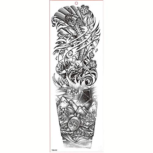 GHHCG Große Arm Ärmel Tattoo Wasserdicht Temporäre Tätowierung Aufkleber Rose Clock Blume Tattoo Body Tattoo Girl, Tqb042