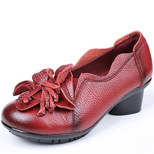 ary Janes mit Blockabsatz, Leder Mokassins Slipper Slip-on Damenschuhe Handgefertigt Blume Schuhe Runde Form Müßiggänger Frühlings Sommer Schuhe der Dame Vintage Party Schuhe ()