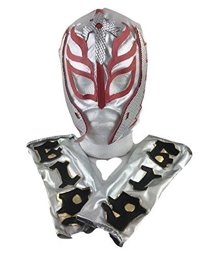 UK Halloween Karneval Cosplay Kinder Silber Sohn Devil Rey Mysterio Wrestling Cosplay Voller Kopf Maske Halloween - universell Größe WWE Kostüm Verkleidung Kostüm Outfit (Wwe Wrestling Outfits)