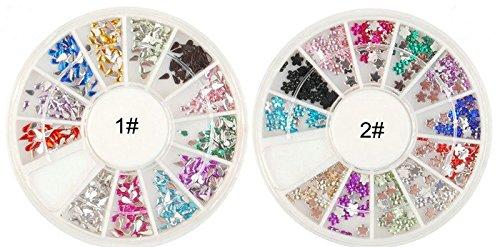 Goutte d'Eau en 12 couleurs & Prune Fleur Paillette Glitter Acrylique 3D Nail Art Décorations Mini Roue arrière plat strass