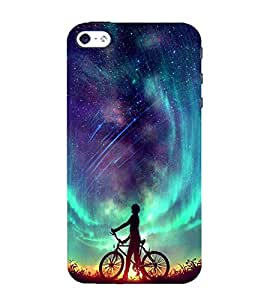 Takkloo beautiful painting blue sky,twinkling stars, a boy with cycle) Printed Designer Back Case Cover for Apple iPhone SE