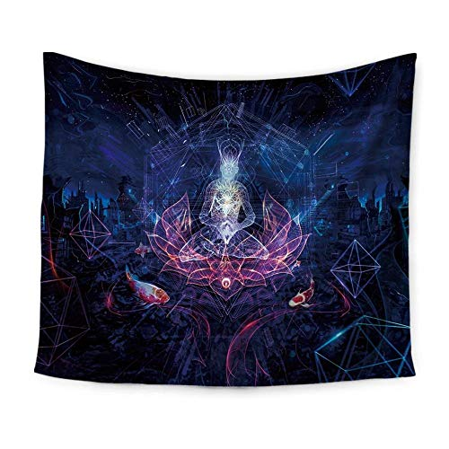ue wolf-like print tapestry wall-mounted beach towel ()