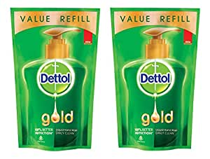 Dettol Gold Liquid Handwash Refill Pouch, Daily Clean - 185 ml (Pack of 2)
