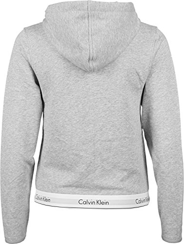 CALVIN KLEIN 000QS5667E TOP HOODIE FULL ZIP SWEATER Damen GREY S