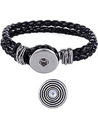 Morella señorías Click-Button trenzada pulsera negro Set y botón del sistema solar con Circonita Blanco