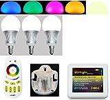 SET 3 x E14 5W RGB+Warm Weiss + 1 x Fernbedienung 4Zonen + 1 x Halter für FB + 1x WIFI Controller IBOX2, ALLES original Mi-Light 2,4G MILIGHT®