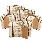 Faylapa 50 Sets Reise Themed Koffer Süßigkeitskästen Vintage Kraftpapier Geschenktüte für Reise Thema Party Hochzeit Geburtstag Brautdusche