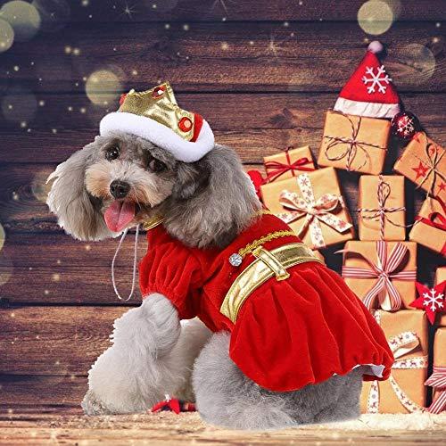 Voll Tragen Kostüm - Ecisi Super niedliche Weihnachtshundekönig-Kleid-Haustier-Kleidungs-Partei-Festival-Hundehemd-Sweatshirt-Winter-Kleid oder Weihnachtshaustier-Hundehemd-Kostüm-Kleidung für Feiertags-Festival-Partei