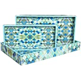 Designer MDF Wooden Serving Trays Set | Set Of 3 Trays | Blue Net Design With Special Enamel Coating - Multicolor