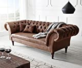DELIFE Couch Perida Braun 235x92 cm Antik Optik abgesteppt Chesterfield