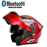 Godme-helmet Adulte Cross Country Casque Modulaire Flip Casque Moto Bluetooth Casque D.O.T Certifié Anti-Fog Double Miroir Réponse Automatique Bluetooth,M