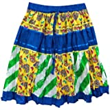 Mogul Interior Festive Skirts Blue Yellow Patchwork Designer Bohemian Gypsy Mini Skirts