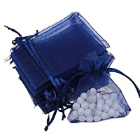 TDlmfRDi 100pcs Organza Gifts Jewellery Bags Pouches Wedding Favours Navy