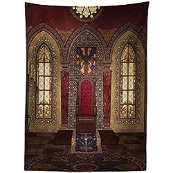 Abakuhaus Gótico Tapiz de Pared y Cubrecama Suave, Trono Rojo Medieval en Capilla Retrato de Águila Antiguo Edificio de Fantasía, Resistente a la Suciedad, 110x150 cm, Marrón