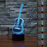 3D Lamp, VSOAIR 3D Night Lights LED USB Touch mit 7 Color Optical Illusion Schreibtischleuchten für Kinderzimmer Home Decoration (Gitarre)