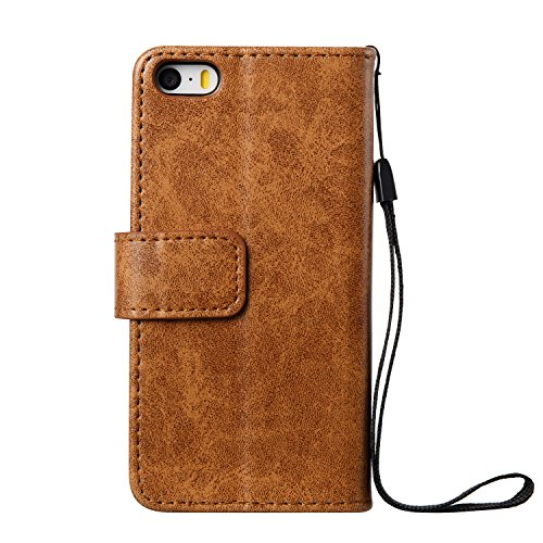 Custodia iPhone 5S, Custodia iPhone SE, Cover iPhone 5S/SE, ikasus® iPhone 5S/iPhone SE Custodia Cover [PU Leather] [Shock-Absorption] Goffratura Testa del cranio Modello Embossing Protettiva Portafog Marrone