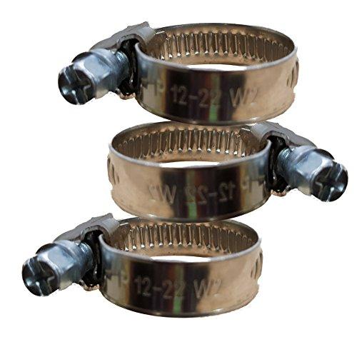 3 Stück 12-22mm EDELSTAHL Schlauchschelle 9mm Bandbreite W2 Industriequalität und Rostfrei -- für 1/2