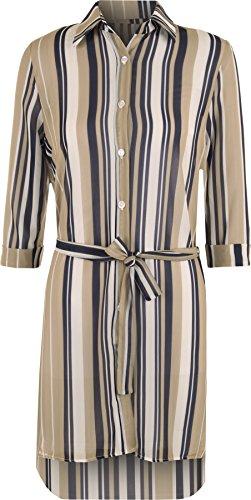 WearAll - Femmes Belted Bouton 3/4 Manche Rayé Trempette Ourlet Élevé Faible Haut Chemisier Chemise - Hauts - Femmes - Tailles 36-42 Pierre