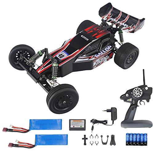 FPS RTR Bundle: Rayline Funrace 03 FR03 A15, L303, RC Modellbau Elektro Auto, Offroad Speed Buggy, Maßstab 1:10, Farbe: Schwarz / Rot, Komplett Set: 2.4 GHz Fernbedienung + 2x 2500 mAh LiPo Akku + 6x AA