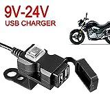 Auto Ladegerät,Praktische wasserdichte Dual USB Motorrad Lenker Ladesteckdose Schalter und...