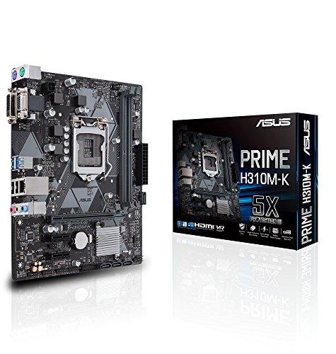 Asus PRIME H310M-K Scheda Madre, Chipset Intel H310, Supporto Processori Intel 8 Generazione, LGA1151, MicroATX, Nero