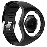 TUSITA Strap + Screen Protector für Polar M200, Ersatz Silikonarmband Armband WristBand Zubehör für Polar GPS Watch (SCHWARZ)