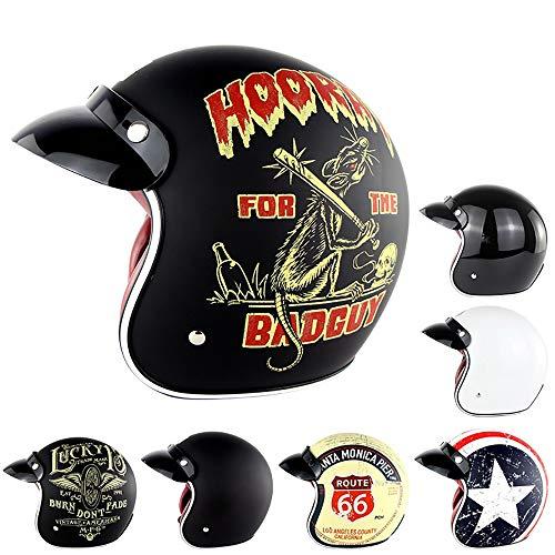 JohnnyLuLu Retro Open Face Motorrad Halbhelm, D.O.T Approved Motorrad Roller Pilot Jet Vintage Harley Helme mit Schutzbrille,G,L