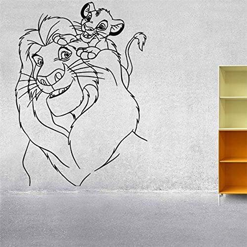 zqyjhkou Vinile Adesivo Sticker Decor Nursery Lion King Simba Mufasa Wall Sticker Cartoon Nursery Camera dei Bambini Art Decor D616 58 x 42 cm