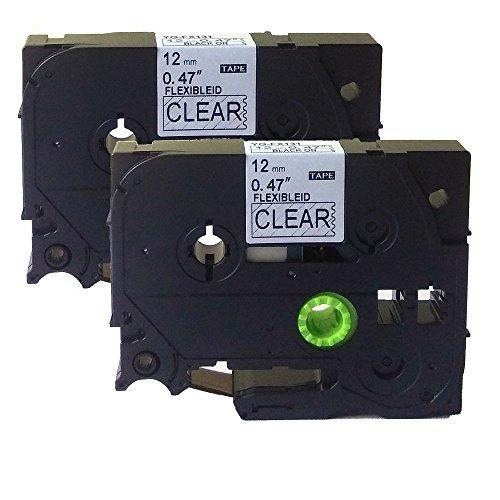 Neouza 2PK compatibile per Brother P-Touch Laminated TZe TZ Label tape Cartridge 12mm x 8m TZe-Fx131 Flexible Black on Clear