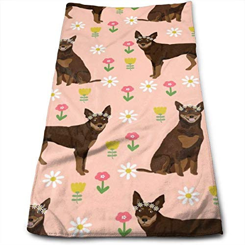 Australian Kelpie Dog Red and Tan Kelpie Design - Daisies - Blush Hand Towels Dishcloth Floral Linen Hand Towels Super Soft Extra Absorbent for Bath,Spa and Gym 12
