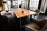 KAWOLA Kasper-Wohndesign massiv mit Baumkante (200 cm, Fuß schwarz) Esstisch, Holz, braun, 200 x 100 x 77 cm